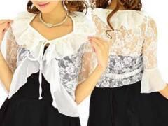 新品【5497】白★シフォンフリル付き☆薔薇レースボレロ