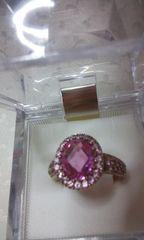 ピンクサファイアみたいとダイヤっぽいシルバーの指輪(A12