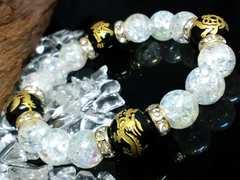 四神獣オニキス12ミリ§アクアクラック10ミリ数珠