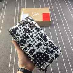 2016ssクリスチャンルブタン メンズ長財布 ホワイト+黒