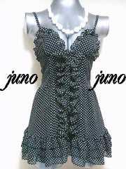 GOVIL水玉ドットシフォン裾3段フリル前開きボタンフレアキャミワンピ黒白ブラック