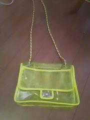 黄蛍光色の2wayスケルトンショルダーバッグ