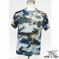 オーシャンブルー デジカモ メッシュTシャツ TEE 半袖迷彩 青S14