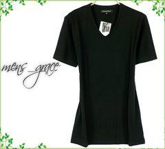 半袖 Tシャツ Vネックカットソー 日本製 無地 黒ブラック S