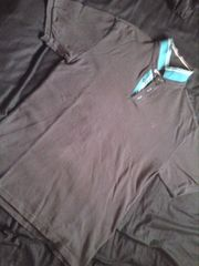 グレー×グリーン ポロシャツ L