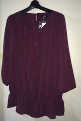 15R☆新品八分袖丸襟リボンブラウス