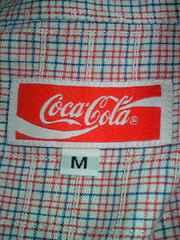 コカ・コーラ コカコーラ 半袖 シャツ ギンガムチェック レッド ブルー ホワイト M ブランド
