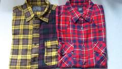 激安77%オフ福袋、GAP、ユニクロ、ネルシャツ2枚(美品、�@赤黒�A紫、M)