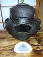 茶釜・風炉・前瓦かわらけ付き・茶道具・年代品