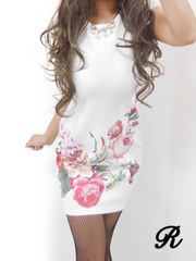 新品新作White//flowerプリント上質miniドレスワンピース