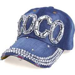 帽子♪ビジュー×ストーン COCO キャップ CAP デニム