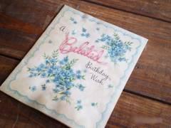 アメリカの可愛い★ヴィンテージ カード 青いお花とリボン[GR#66]