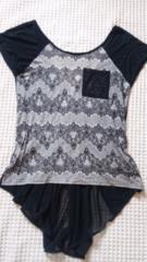 ◆ROYAL PARTY黒×レース柄、バックシフォンデザインTシャツ◆38