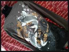 和柄昇り鯉.発泡プリントグラデロンT新品3L/M-405