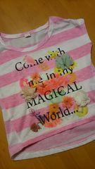 花かざりボーダーTシャツ80cm白×ピンク