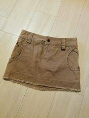 EGOIST☆裾フリンジ、ミニスカート、ベージュ