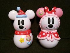 ディズニ/リゾート25thクリスマス限)雪ダルマミッキーミニー菓子BOX2コセットオブジェにも
