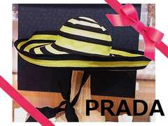 PRADA プラダ キャンパス素材 上品な帽子 ハット 女優帽 新品★dot