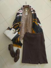 KUMIKYOKU SiS●圧縮ウールのあったかブラウンスカート