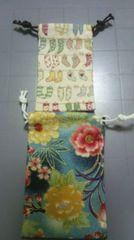 ハンドメイド ミニミニ布製巾着2枚セット�B