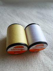 500m巻きミシン糸2本 <白・薄い黄>各1本 60番普通地用 ポリエステル100%