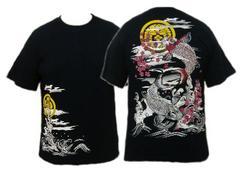 【送料無料】和柄/刺繍半そでTシャツ/鯉・梅・家紋柄/黒087/XXL