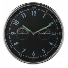 送料無料】温湿表示付 壁掛け時計 丸