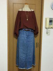 アメリカンホリック 裾フリンジのデニムスカート♪