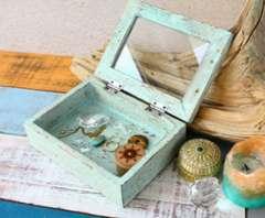 アンティーク木材卓上ボックスガラス扉付アクセサリーボックス小物入れ