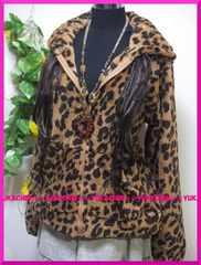 冬新作◆大きいサイズ3Lブラウン×ヒョウ柄◆ボアモコジップパーカー
