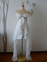 F ロングドレス Tika ホワイト インナーミニ ビジュー 新品T1659