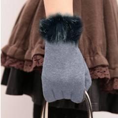 新品【6751】ファー付き★グレー★ニット手袋