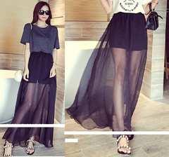 新品*シースルーレイヤード*中スカート付き*ふんわりフレアロングスカート*黒