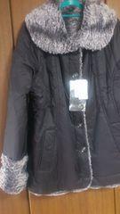 3Lサイズリバーシブルコート両面着れます高貴品格新品黒色&ファー