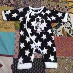 babyディズニーミッキーマウス星柄モコモコ カバーオール 50〜60�p