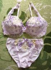 殿方様大喜び♪可愛いフラワー刺繍ブラ&ショーツセット†E75×L