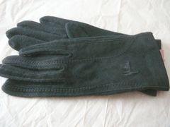 シビラ部分スェード皮革ニット手袋黒ロゴ刺繍