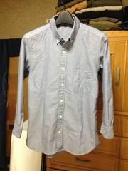 美品 無印良品 細身 七分袖シャツ XSサイズ グレー+水色 (半端丈:長袖)