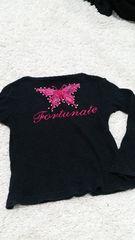 カットソー 黒 ピンクレース 120cm 長袖