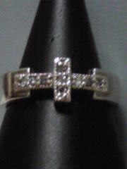 新品同様agete天然石ブラックダイヤモンドクロス形SILVAリング値下