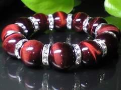 パワーストーン☆天然石!!レッドタイガーアイ赤虎目16ミリ数珠ブレス§銀ロンデル