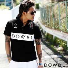 送無!ダブル ITALIAN BOX ナンバーポロシャツ 黒 42 DOWBL