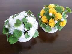 【新品未使用/即決】アートフラワー2個セット☆イエロー&ホワイト♪アレンジメント★造花