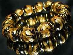 大特価!!!金彫鳳凰ブラックオニキス14ミリ数珠ブレスレット!!オラオラ系