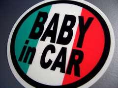 BABY in CARイタリア国旗ステッカー○赤ちゃん乗ってます☆