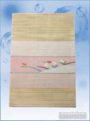 【和の志】正絹絽八寸名古屋帯◇ベージュ系・草花◇6