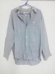 Fー77★renoma長袖チェックシャツ ライトブルー L