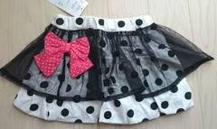 100cm★チュールレース×リボン★ドット柄かわいいスカート★新品★女の子★