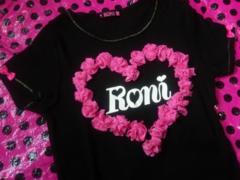 X'mas雛祭り卒業激レアRoni姫ラメショキピン激チュール薔薇ハートモチーフ黒TシャツL