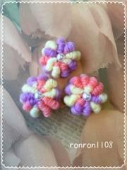 ハンドメイド♪ぷっくりお花の毛糸編みモチーフ3個セット 8